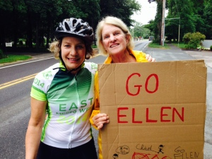 My friend, Kay Conrad came cheered me from the sidelines as I rode through Brewster- thanks Kay!