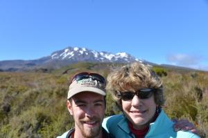 in front of Mount Ruapehu in Tongariro