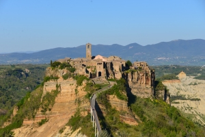 Civita Bagnoreggio in Tuscany, an ancient medieval city accessible only by footbridge