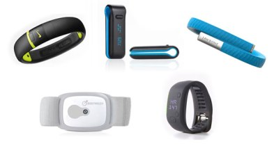 Nike+ Fuelband ($99-$149), Fitbit Ultra ($99), Jawbone UP ($99), BodyMedia FitCore ($99) and the Adidas MiCoach ($199)