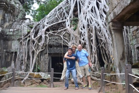 """Dana, Jeff and I in front of the """"Jungle Temple"""" where the trees and roots have overtaken the ruins"""
