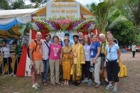Our group with the Cambodian bride and groom at their wedding