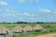 Thatched roof huts on the water in the countryside